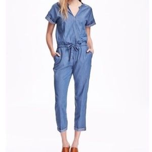 Old Navy Chambray short sleeve pant Jumpsuit S